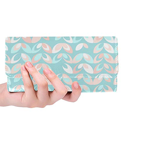 Unique Custom Design Rustic Style Flowers Women Trifold Wallet Long Purse Credit Card Holder Case Handbag