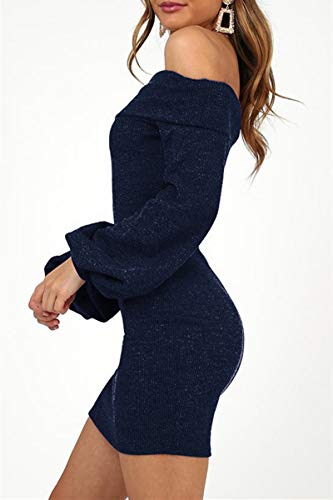 4e07bf0af60 ioiom Women Sexy Off The Shoulder Long Sleeve Mini Dress