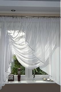 Amazon.de: Gardinen Bogen kurz Store Vorhang knittern Voile weiß