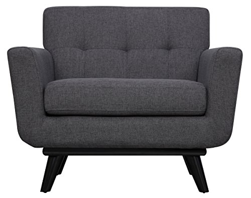 Cheap Tov Furniture The James Collection Mid-Century Modern Linen Fabric Upholstered Wood Living Room Accent Arm Chair, Gray