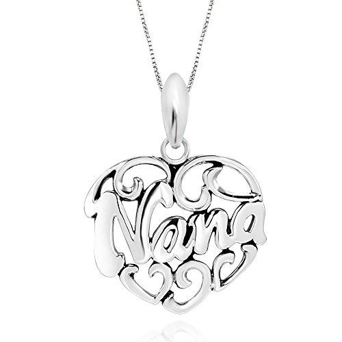"925 Sterling Silver I Love Nana Heart Pendant Necklace, 18"""