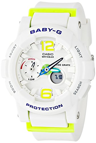 Casio G-Shock Womens BGA180 Glide with Tide Graph Baby-G Series Designer Watch - White/Lime Green/One -