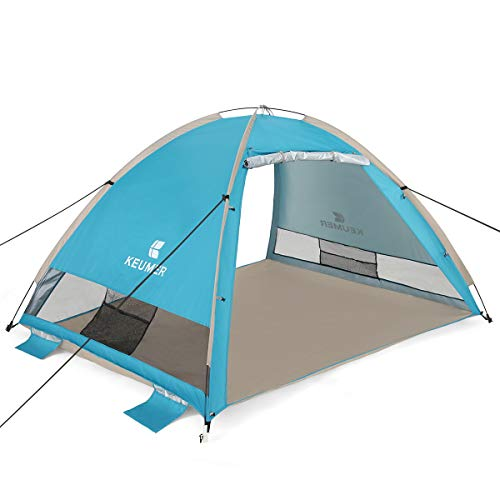 G4Free Large Pop Up Beach Tent 3-4 Person Instant Easy Up Outdoors Cabana Anti UV Portable UPF 50+ Automatic Sun Shelter for Baby Sport Fishing(Lake Blue)