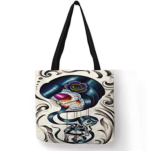 32bc43e760f7 2018 Style Pattern Bolsos Mujer Handbag for Ladies Tatoos Art Flower Skull  Eco Linen Tote Bag Reusable Office Daily