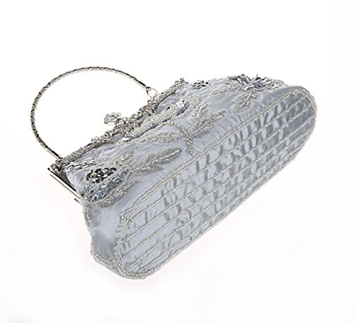 For Style Women MIMI Handbag Bags Wedding Evening Manual Silver Beaded Clutch Vintage And KING Purse Sequined Party OYYwqSE0