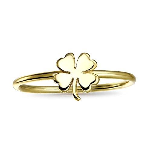 Bling Jewelry Chapado en oro plata 925suerte trébol de cuatro hojas anillo de Midi