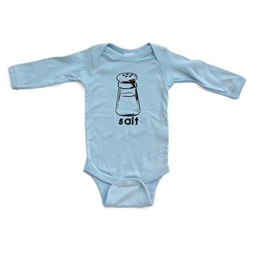(Halloween Costume - Cute Twin Long Sleeve Bodysuit With Salt (Goes With Pepper) Print (Newborn, Light)