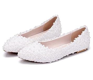 MSFS Zapatos De Mujeres Mocasines Planos Boda Bailarina Perla Apliques De Encaje Novia Fiesta Tamaño 35 A 42: Amazon.es: Deportes y aire libre
