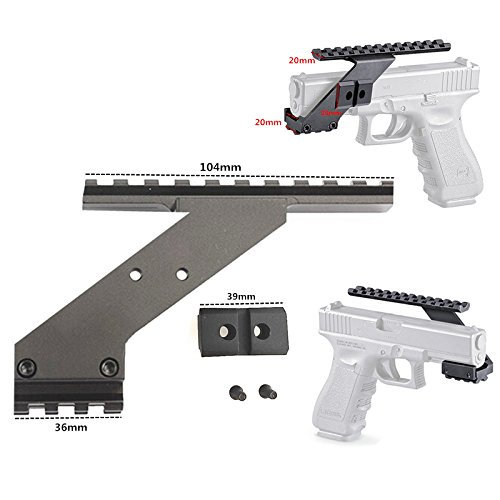 FIRECLUB Tactical Precision Machined Aluminum (NOT PLASTIC) Weaver Picatinny Top & Bottom Pistol Handgun Scope Mount for Sights,Lights & Accessories Fits Glock Pistols with Front Accessories