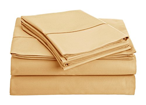 Chateau Home Collection 800-Thread-Count Egyptian Cotton Deep Pocket Sateen Weave Sheet Set (QUEEN, Semolina) (Luxurious Home Decor)