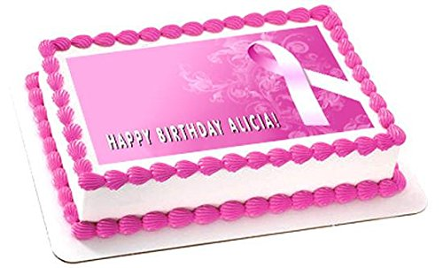 Breast Cancer Pink Ribbon Edible Cake Topper - 10
