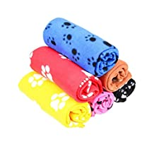 Cute Soft Warm Pet Puppy Dog Cat Paw Print Fleece Blanket Mat Pad Bed Cover Random Color