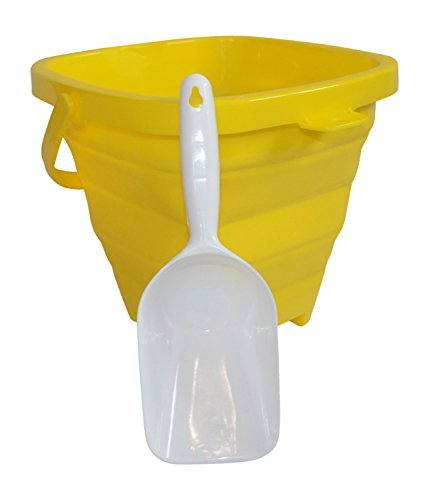 AquaVault Packable Pails. Collapsible Beach Bucket with Shovel- Sunshine Yellow by Packable Pails