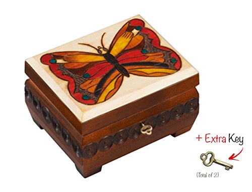 Wooden Butterfly Box Polish Handmade Linden Wood Keepsake Jewelry Box w/Lock and ()