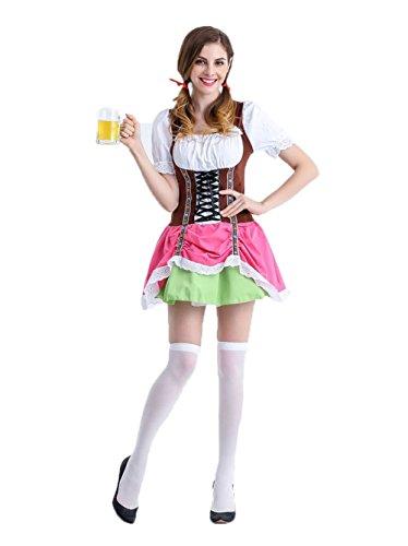 Uleade Halloween German Carnival Cosplay Women's Beer Girl Costume Oktoberfest Serving Wench Adult Dirndl (Carnival Group Costume Ideas)