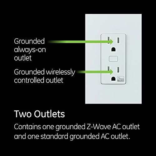 GE Z-Wave Plus Smart Lighting and Appliance Control Receptacle Outlet, On/Off, Tamper Resistant, 1 Always On/1 Controllable Outlet, Zwave Hub Required- Works with SmartThings Wink and Alexa, 14288 by GE (Image #3)