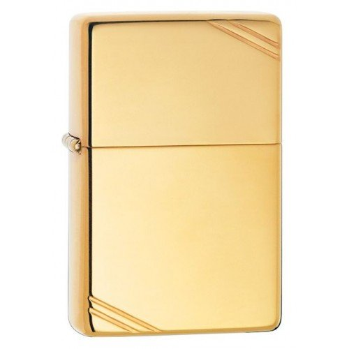 Personalized HIGH POLISH BRASS VINTAGE WITH SLASHES ZIPPO LIGHTER- Free Engraving ()