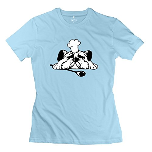 Woman Pug Chefs Hat Wooden Spoon Custom Cool SkyBlue T-Shirts By Mjensen