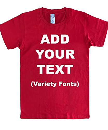 Custom T Shirts Ultra Soft Add Your Text for Men & Women Unisex Cotton T Shirt [Red/XL]