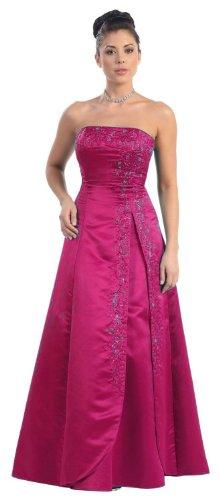 Bridesmaid Strapless Formal Dress #3708 (16, Fuchsia) ()