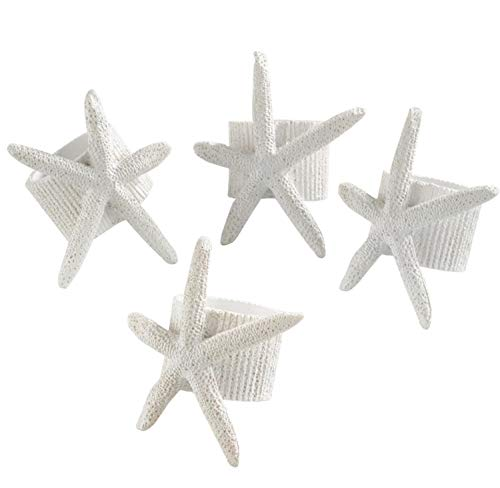 (Fennco Styles Unique Starfish Nautical Napkin Ring, White, Set of 4)
