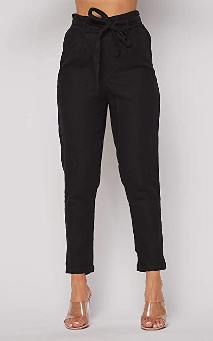 Amazon Com Love Tree Pantalones De Lino Con Cordon Para Mujer Clothing
