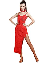 Z&X Women's Backless Rhinestone Embellished Fringe Flapper Latin Dance Dress
