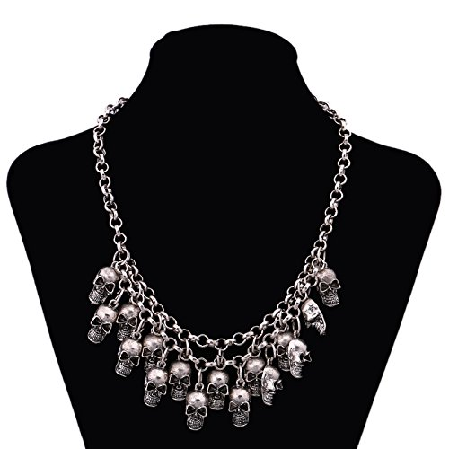 Halloween Lady Bib (YAZILIND Punk Gothic Style Skull Design Silver Chain Collar Bib Pendant Necklace for Women)