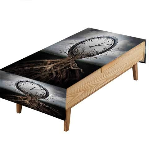 PINAFORE Indoor/Outdoor Spillproof Tablecloth A Vintage Clock Breaking Free from a Tree Trunk A Surrealistic Symbol Great Buffet Table, Parties,Wedding & More W50 x L80 INCH