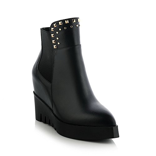 AmoonyFashion Womens Pointed-Toe Closed-Toe High-Heels Boots with Heighten Inside and Wedge Black 6YKmrG2