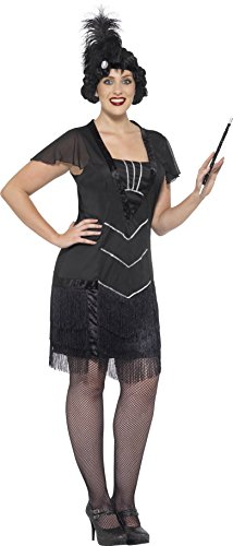 Flapper Dress Costume Uk (Smiffy's Women's Flapper Costume, Dress and Headband, 20's Razzle Dazzle, Serious Fun, Plus Size 22-24, 26528)