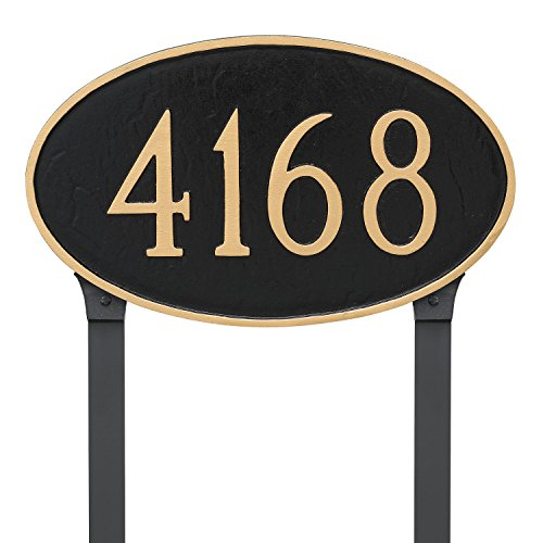 - Montague Metal Classic Oval Estate Address Sign Plaque with Lawn Stakes, 16.25