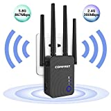 WiFi Range Extender, AC1200 Dual Band WiFi Internet Signal Booster Wireless Repeater