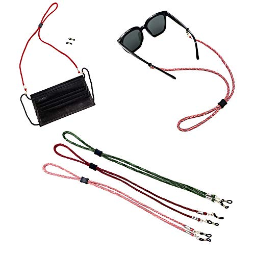 Face Mask strap Bandanas chain Eyeglass Lanyards Dual function for Face Shield and Glasses Strap Holder Eyewear Retainer Necklace glasses hanging for Women and Men (3 pcs, mix color)