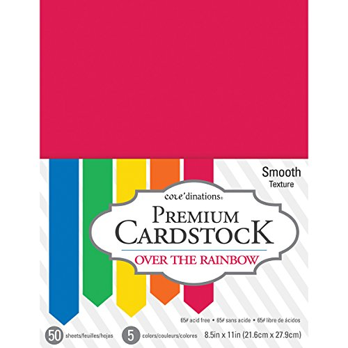 American Crafts Over The Core'dinations 8.5 x 11 Inch Value Pack Over The Rainbow 50 Sheets (Primary Color Scrapbook Paper)