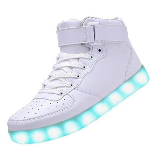 (Present:small towel)JUNGLEST® Womens USB Charging LED Sport Shoes Flashing Sneake White raPwKli4F