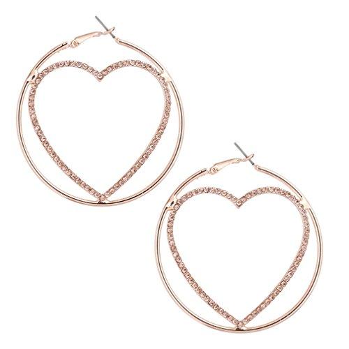 Gold Fashion Heart Earrings - HSWE Heart Earrings Crystal Silhouette Heart Shape Earrings Statement Fashion Jewelry Rose Gold
