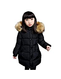 WEONEDREAM Girls Medium-long Winter Jackets Cotton-padded Coats with Fur Hood