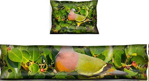 Luxlady Mouse Wrist Rest and Keyboard Pad Set, 2pc Wrist Support IMAGE ID: 35523262 Portrait of Male Pink necked Green Pigeon Treron vernans in nature in Th