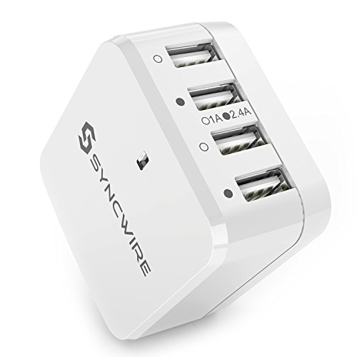 USB Charger Plug Syncwire 6.8A/34W 4-Port USB Wall Charger with US UK EU Travel Adapter for iPad, iPhone 7 / 6s / 6 / 5s / 5/ Plus, SE, Galaxy S8 / S7 / S6 Edge, S5, Note, LG, Nexus, HTC & more- White