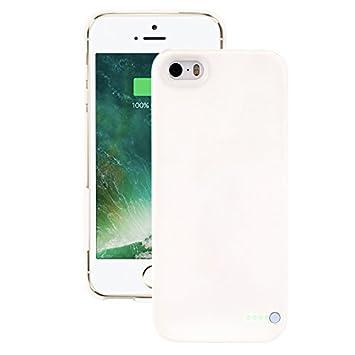 Funda de protección de batería móvil ultraligera para iPhone 5/5S/5SE - Funda de batería inalámbrica y recargable - Blanco