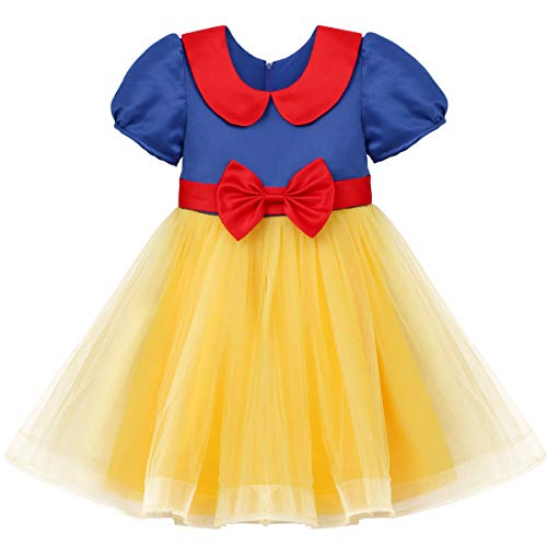 - OBEEII Little Girls Snow White Short Sleeve Princess Costume Fancy Dress up Halloween Party Toddler Fairy Cosplay Tutu Dress #C Tag 90