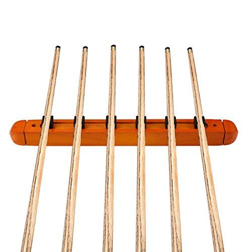 Moocy 2-Piece Billiard Pool Wall Mount Holds 6 Cue Sticks Wo