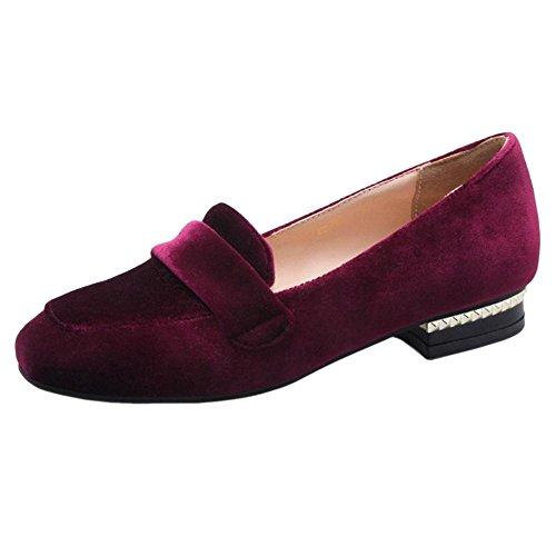 TAOFFEN Women's Fashion Loafers Shoes Claret CICNvq