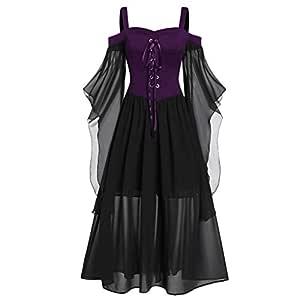 Benbzh Vestido GóTico Mujer Vestido con Hombros Descubiertos ...