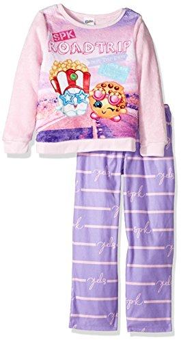 Shopkins Girls' Little 2-Piece Pajama Set, Purple, 4