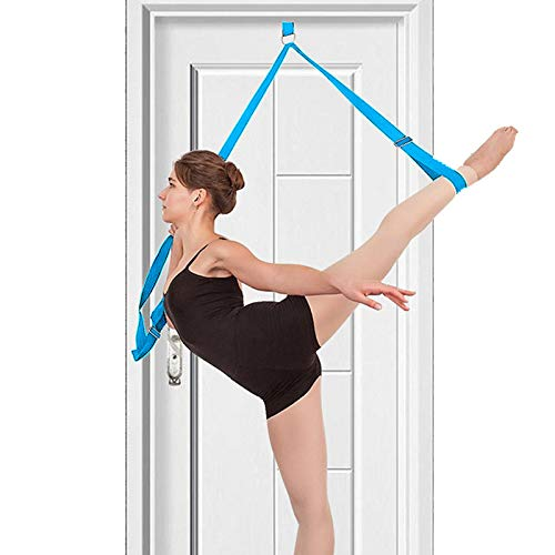 tchrules Leg Stretcher, Door Flexibility & Stretching Leg Strap - Great for Ballet Cheer Dance Gymnastics or Any Sport Leg Stretcher Door Flexibility Trainer Premium Stretching Equipment (Blue) -