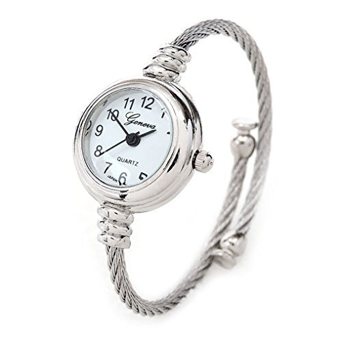 (New Geneva Silver Cable Band Women's Small Size Bangle Watch)
