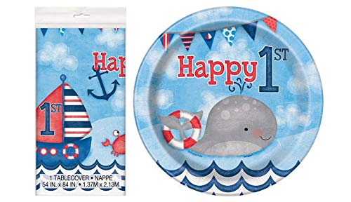 Unique Industries Nautical Boys 1st Birthday Plastic Tablecloth, 84