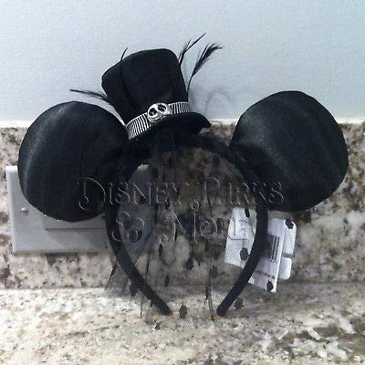 Disney Parks Jack Skellington Top Hat Minnie Ears Headband